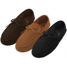 M080004-A - Wholesale Men's Leather Upper Moccasins Insulated Shoes ( *Asst. Black Beige & Brown )