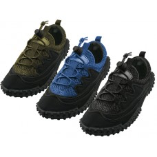 "M1188 - Wholesale Men's ""Wave"" Nylon Upper With Shoe Lace Water Shoes ( *Asst. All Balck, Black/Olive and Black/Royal Blue ) *Available In Single Size"