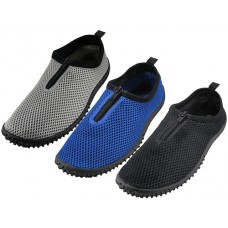 "M1195 - Wholesale Men's Wave"" Elastic Mesh Upper With Zipper Water Shoes ( *Asst. Black, Gray And Royal Blue )"