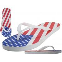 """M2290- Wholesale Men's """"EasyUSA"""" US Flag Print On Top  Rubber Flip Flop Sandals ( *White Out Sole )"""