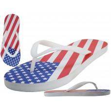 "M2290- Wholesale Men's ""EasyUSA"" US Flag Print On Top  Rubber Flip Flop Sandals ( *White Out Sole )"