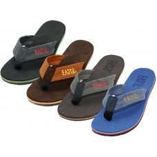 M3668 - Wholesale EasyUSA Men's Soft Insole Fabric Thong Sandals ( *Asst. Black, Coral, Denim & Brown )