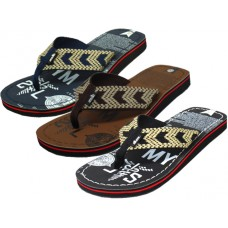 M3778 - Wholesale EasyUSA Men's Printed  Fabric Thong Sandals ( *Asst. Black, Brown & Navy )