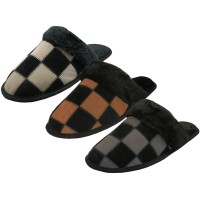 M6299 - Wholesale Men's Leather Suede Square Patch Cuff Slippers ( *Asst. Color )