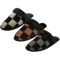 M6299 - Wholesale Men's Leather Suede Upper Square Patch With Faux for Cuff Slippers ( *Asst. Color )