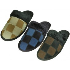 M6299 - Wholesale Men's Leather Suede Upper Square Patch With Faux fur Cuff House Slippers ( **Asst. Gray, Beige And Lt. Brown )