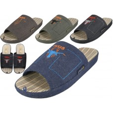M7410-A - Wholesale Men Open Toes Embroidery Slippers ( *Asst. Color )