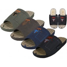 M7410-A - Wholesale Men Satin Open Toes Embroidery Upper House Slippers ( *Asst. Brown, Olive, Navy And Black )