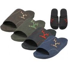 M7440-A - Wholesale Men's Satin Open Toes Slippers With Antler Embroidered Upper House Slippers ( *Asst. Black, Brown, Navy And Green )