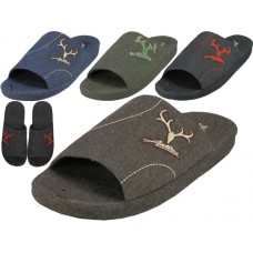 M7440 - Wholesale Men's Open Toes Slippers With Antler Embroidered ( *Asst. Color )