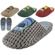 M7447- Wholesale Men's Corduroy With Dog Embroidery Slippers ( *Asst. Color )