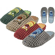 M7447-A - Wholesale Men's Cotton Corduroy With Dog Embroidery Upper House Slippers ( *Asst. Beige, Wine Gray And Green )