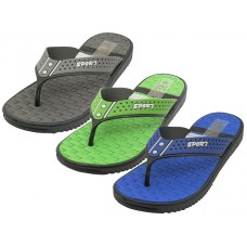 "M7711 - Wholesale Men's ""Real"" Soft Comfortable Sport Thong Sandals ( *Asst. Navy, Green & Gray )"