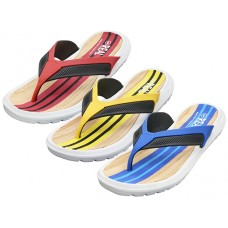 "M7712 - Wholesale Men's ""Real"" Soft Comfortable Sport Thong Sandals ( *Asst. Royal, Red & Yellow )"
