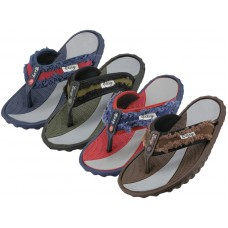 M7712 - Wholesale EasyUSA Men's Sport Fabric Thong sandals ( *Asst. Navy, Brown, Green & Red ) *Last 2 Case