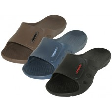 "M7715 - Wholesale Men's ""Real"" The Most Comfortable Open Toe Slide Soft Sandals  ( *Asst. Black, Navy & Brown )"