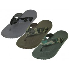 M7716 - Wholesale Men's Camo. Sport  Shower Thongs ( * Asst. Color: Black. Brown & Gray)