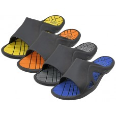 M7717 - Wholesale EasyUSA Men's Sport Slide Sandals  ( *Asst. Gray, Royal, Orange & Yellow )
