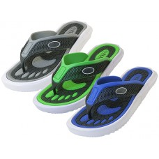 "M7719 Wholesale Men's ""Real"" Sport 2 tone Color Sandals ( *Black/Gray, Black/Royal & Black/Green )"