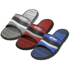 "M7723 - Wholesale Men's "" EasyUSA ""  Sport Shower Slide Sandal (Asst. Blue, Red & Gray)"