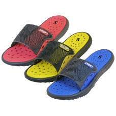 M7727 - Wholesale EasyUSA Men's Sport Slide Sandals  ( *Asst. Black/Royal, Black/Yellow & Black/Red )