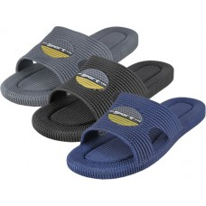 M8818 - Wholesale EasyUSA Men's Soft Rubber Shower Slides ( *Asst. Black, Brown & Gray )