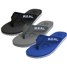 "M9668 Wholesale Men's ""Real"" Sport Fabric Thong Sandals ( Asst.   Black, Gray & Royal )"
