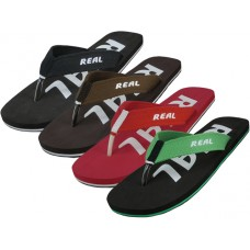 "M9778 - Wholesale Men's ""Real"" Sport Fabric Thong Sandal ( *Asst. Black, Brown, Red & Green )"