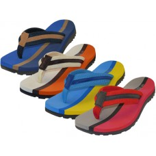 M9915 - Wholesale EasyUSA Men's 2 Tone Color Fabric Thong Sandals ( *Asst. Royal, Beige, Blue & Red )