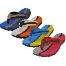 "M9915 - Wholesale ""EasyUSA"" Men's Soft Comfortable 2 Tone Color Fabric Upper Thong Sandals ( *Asst. Royal, Beige, Blue & Red )"