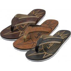 M9917 - Wholesale EasyUSA Men's Emboss Insole Sport Flip Flops ( *Asst. Black, Brown And Tan )