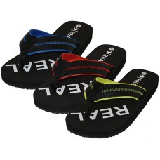 "M9925 Wholesale Men's ""Real"" Sport Thong Sandals ( *Asst. Blk/Red, Blk/Royal And Blk/Yellow )"
