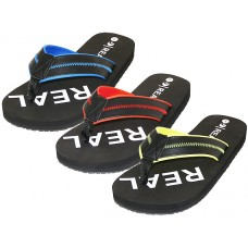"M9925 Wholesale Men's ""Real"" Soft Comfortable Sport Thong Sandals ( *Asst. Blk/Red, Blk/Royal And Blk/Yellow )"
