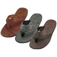 "M9927 - Wholesale Men's ""Real"" Side Stiches Emboss Thong Sandals ( Asst. *Black, Brown & Tan )"