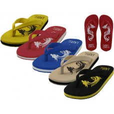 "M9935 - Wholesale ""EasyUSA"" Men's Comfortable Dragon Embossed Upper Thong Sandals ( *Asst. Yellow Black Beige Blue & Red )"