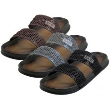 "M9945 Wholesale Men's ""EasyUSA"" Comfortable For All 2 Strip Upper All Rubber Soft sandals ( *Asst. Black Brown & Gray )"
