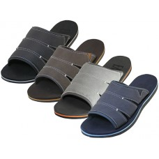 M9965 - Wholesale EasyUSA Men's Soft Insole Slide Sandals ( *Asst. Black, Navy Gray And Brown )