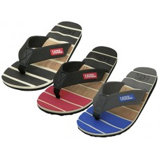 "M9975 - Wholesale Men's "" EasyUSA "" Soft Sole Thong Sandals ( Asst  Black. Red And Blue )"