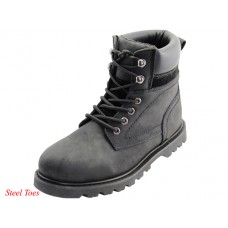"N6110-S - Wholesale Men's ""Himalayans"" 6 Inches Insulated Black Nubuck Leather Upper With Steel Toe Work Boots ( *Black Color )"