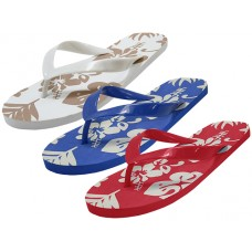 S1300-M - Wholesale Men's & Lady Floral Printed Flip Flops ( *Asst,. Blue, Red And Brown  )