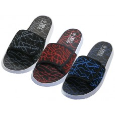 S2070-M - Wholesale Men's Velcro Upper Sport Slide  ( *Asst. Black/Royal. Black/Red And Black/Gray )