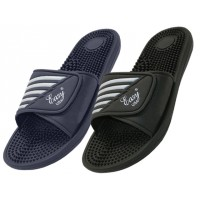 S2090-M - Wholesale EasyUSA Men's Velcro With Massage In Sole Shower Slides ( *Asst. Black And Navy )
