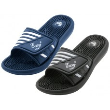 "S2090-M - Wholesale ""EasyUSA"" Men's Velcro With Massage In Sole Shower Slide Sandal ( *Asst. Black And Navy )"