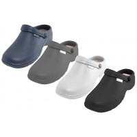 """S2390-M - Wholesale Men's """" Sport """" Close Toe Rubber Nursing Clogs ( *Asst. Black White Navy & Gray )"""