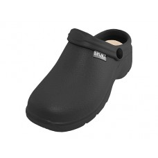 "S2390M-BB Wholesale Men's "" Sport "" Close Toe Rubber Nursing Clogs ( *Black Color )"