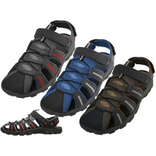 S2600-M - Wholesale Men's Hiker Velcro Sandals ( *Asst. Gray Royal & Brown )