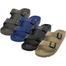 S2610-M - Wholesale Men's Double Strap With Side Buckle Sandals ( *Asst. Black Gray Navy & Beige )