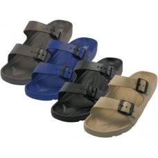 S2610-M - Wholesale Men's Double Strap With Side Buckle Sandals ( *Asst. Black Gray Navy & Beige ) *Last 6 Case