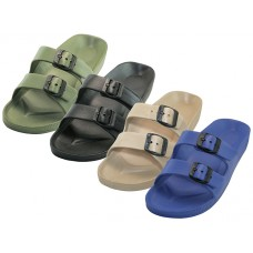 S2610-M - Wholesale Men's Double Strap With Side Buckle Sandals ( *Asst. Black Royal. Tan & Khaki )