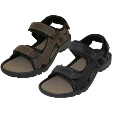 S2700-M - Wholesale Men's Double Velcro Man Make Leather Sandals ( Asst. Black And Dark Brown )